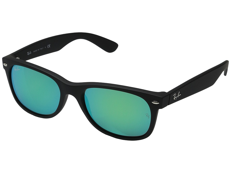 Ray-Ban RB2132 New Wayfarer 55mm (Rubber Black Frame/Grey Mirror Green Lens) Fashion Sunglasses
