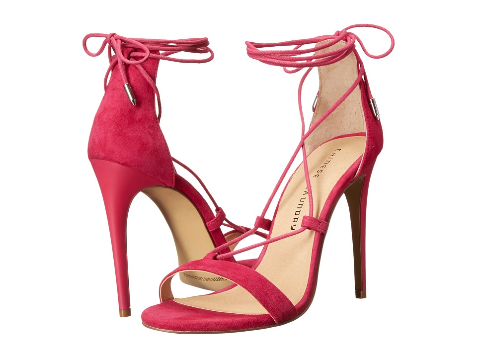 Chinese Laundry Jambi Shocking Pink Kid Suede High Heels