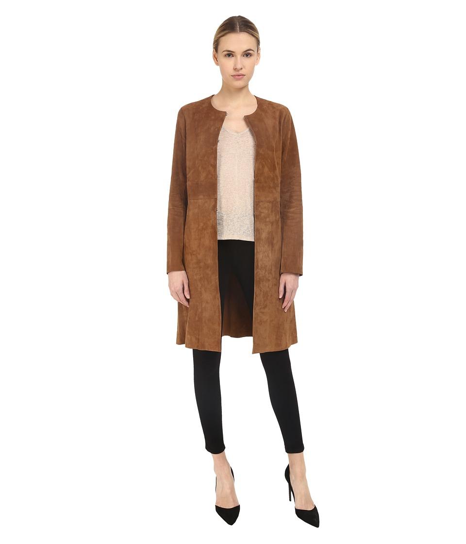 Theory Alvington Benna Suede Jacket Light Vicuna Womens Coat