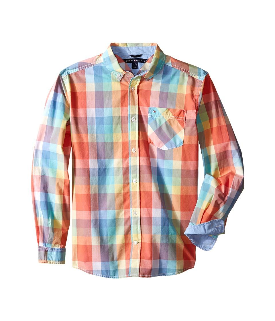 Tommy Hilfiger Kids Alejandro Woven Shirt Big Kids Melon Boys Long Sleeve Button Up