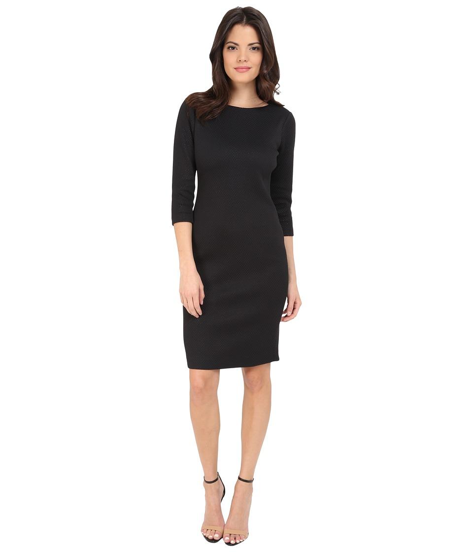 Badgley Mischka Elbow Sleeve Sheath Day Dress Black/Ivory Womens Dress
