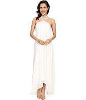 Badgley Mischka - Solid Halter Draped Gown
