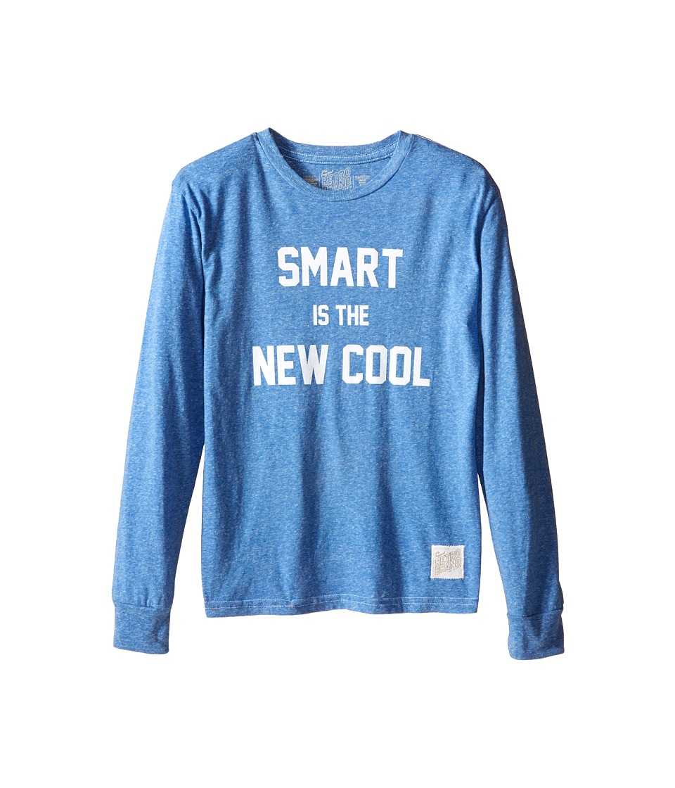 The Original Retro Brand Kids Smart Is The New Cool Long Sleeve Tri Blend Tee Big Kids Streaky Royal Boys Long Sleeve Pullover
