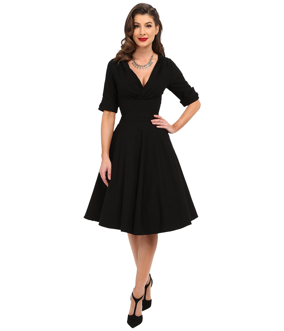 Unique Vintage 3/4 Sleeve Delores Swing Dress Black Womens Dress