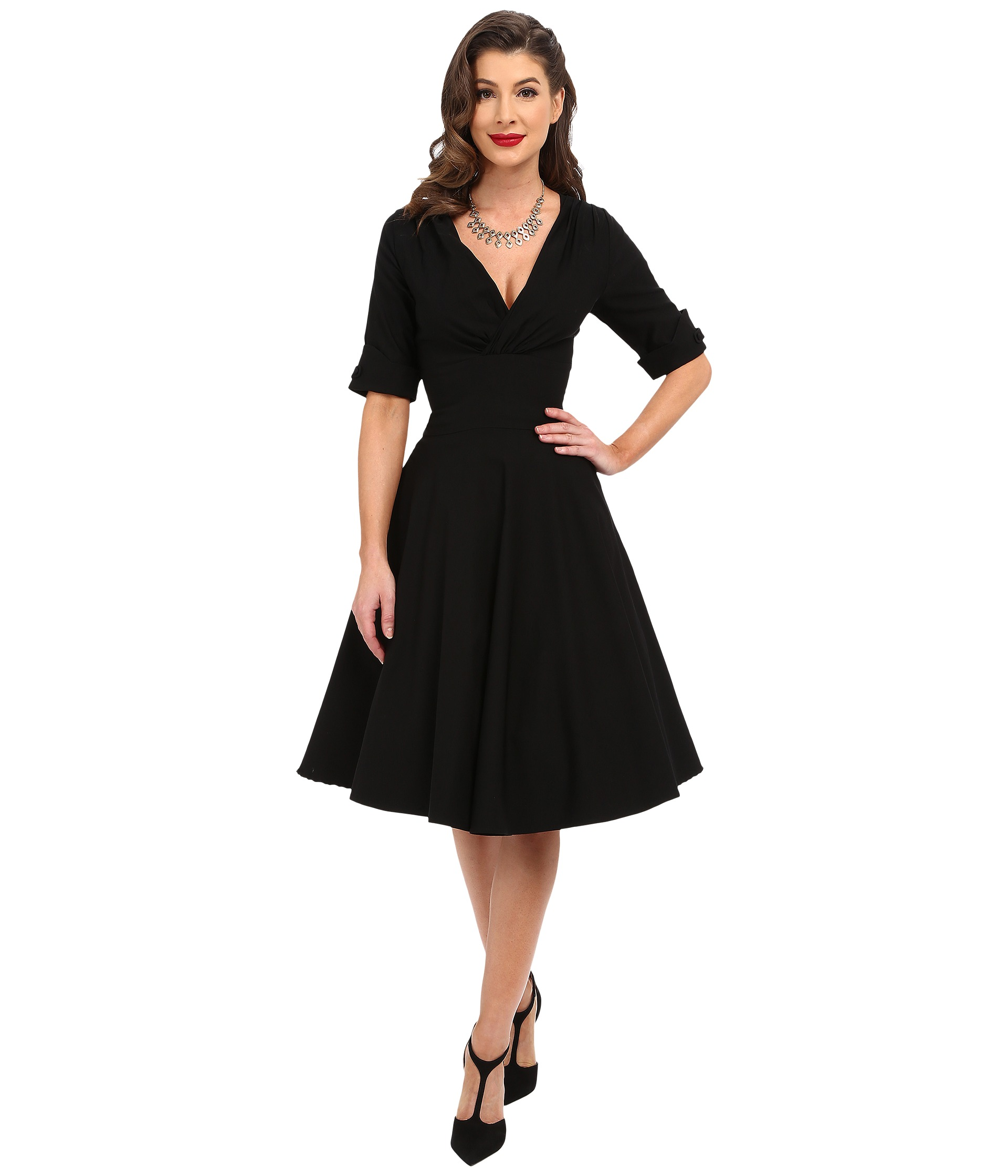 Unique vintage 3 4 sleeve delores swing dress at for 3 4 sleeve wedding guest dress