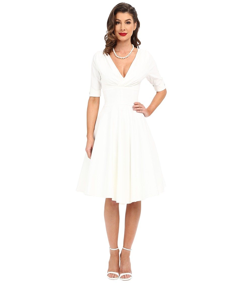 Unique Vintage 3/4 Sleeve Delores Swing Dress (Ivory) Women