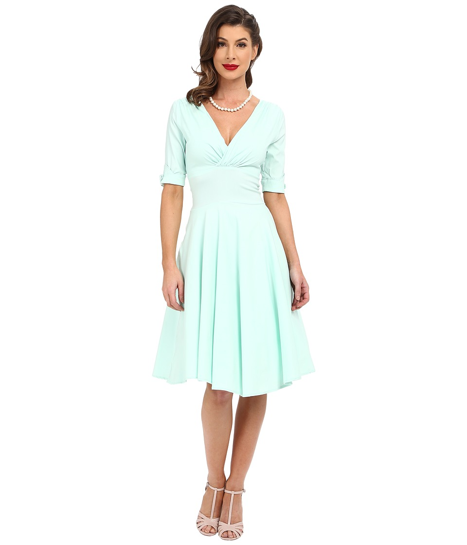 Unique Vintage 3/4 Sleeve Delores Swing Dress Mint Womens Dress