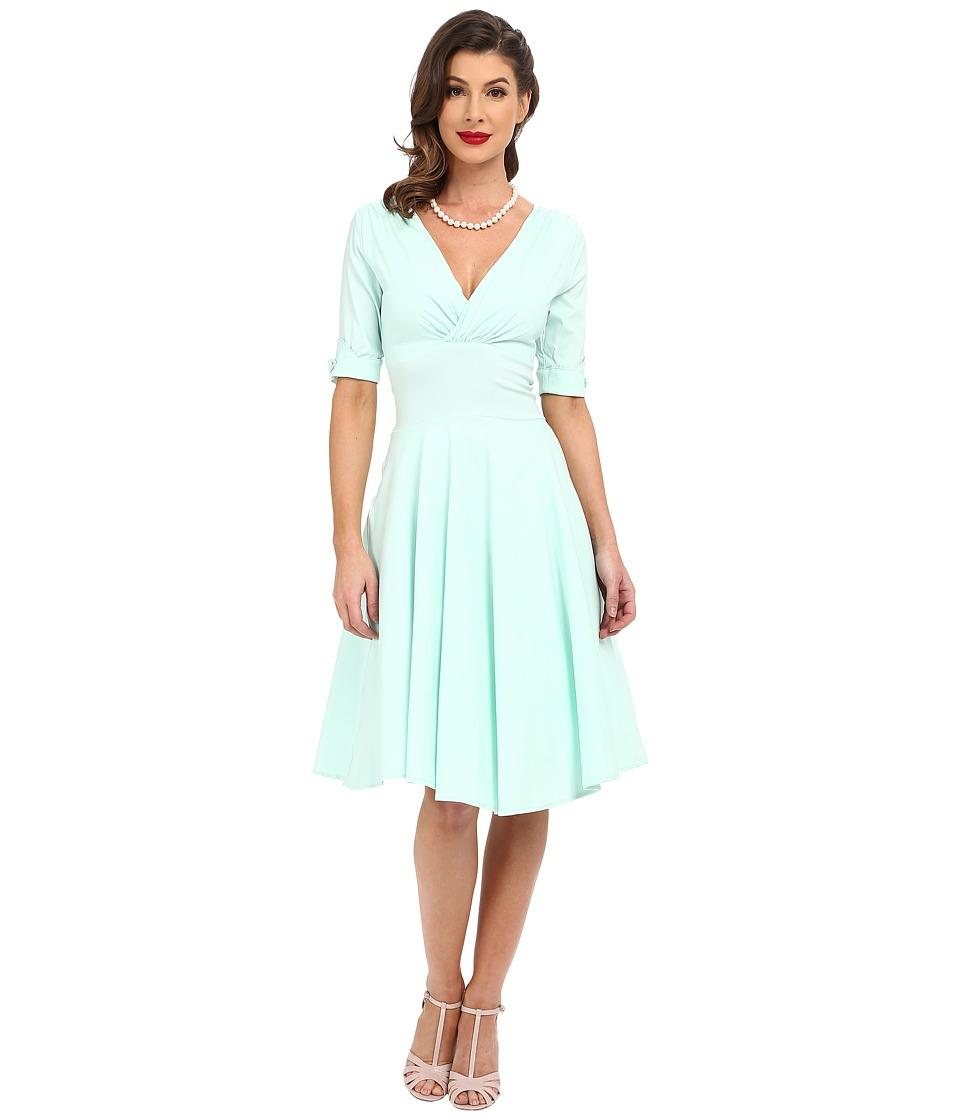 Unique Vintage 3/4 Sleeve Delores Swing Dress Mint Womens Dress