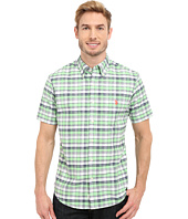 U.S. POLO ASSN. - Short Sleeve Slim Fit Plaid Pin Point Oxford Sport Shirt