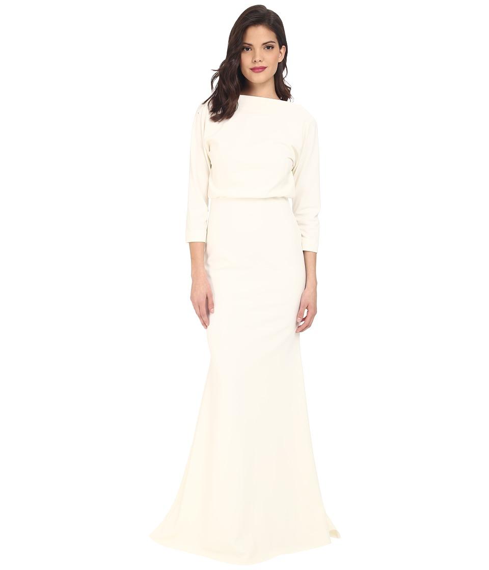 Badgley Mischka 3/4 Sleeve Micro Rib Dress Ivory Womens Dress