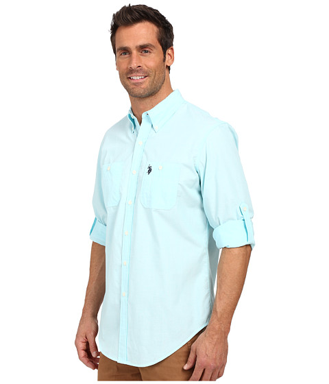 Reviews u s polo assn long sleeve slim fit button down for Button up collared sport shirts