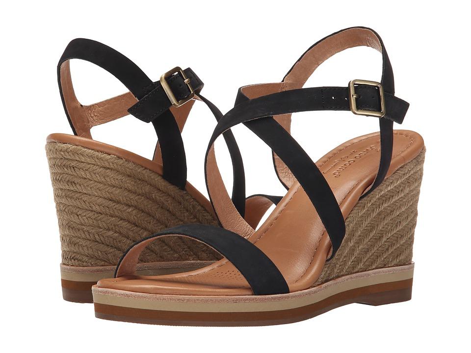 Corso Como Gladis Black Leather Womens Wedge Shoes