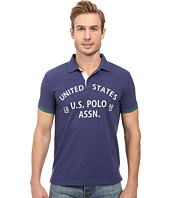 U.S. POLO ASSN. - Slim Fit Flocked Logo Pique Polo Shirt