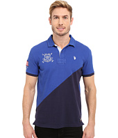 U.S. POLO ASSN. - Slim Fit Diagonal Color Block Pique Polo Shirt
