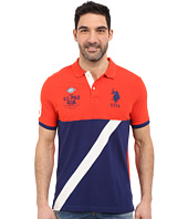 U.S. POLO ASSN. - Color Block Diagonal Stripe Pique Polo Shirt