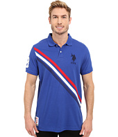 U.S. POLO ASSN. - Tri-Color Diagonal Stripe Pique Polo Shirt