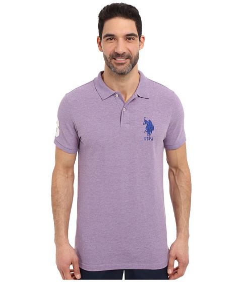 U S Polo Assn Solid Pique Polo Shirt Tie Purple Heather