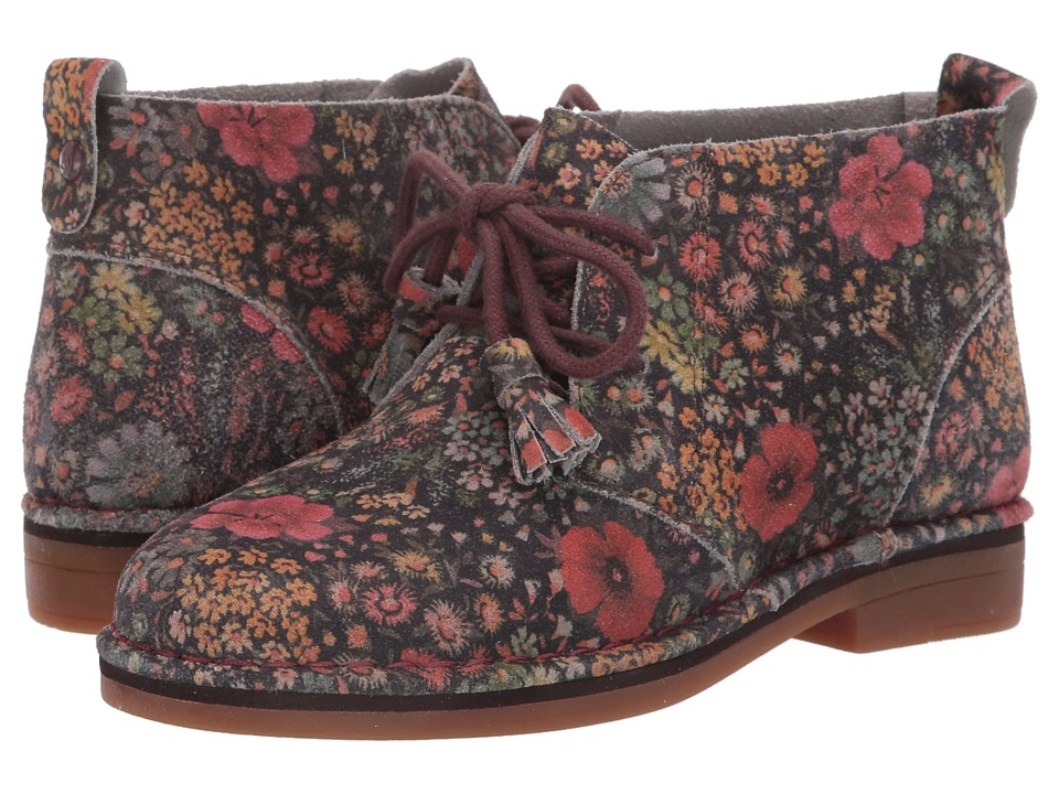 Hush Puppies Cyra Catelyn (Black Floral Suede) Women's Lace-up Boots