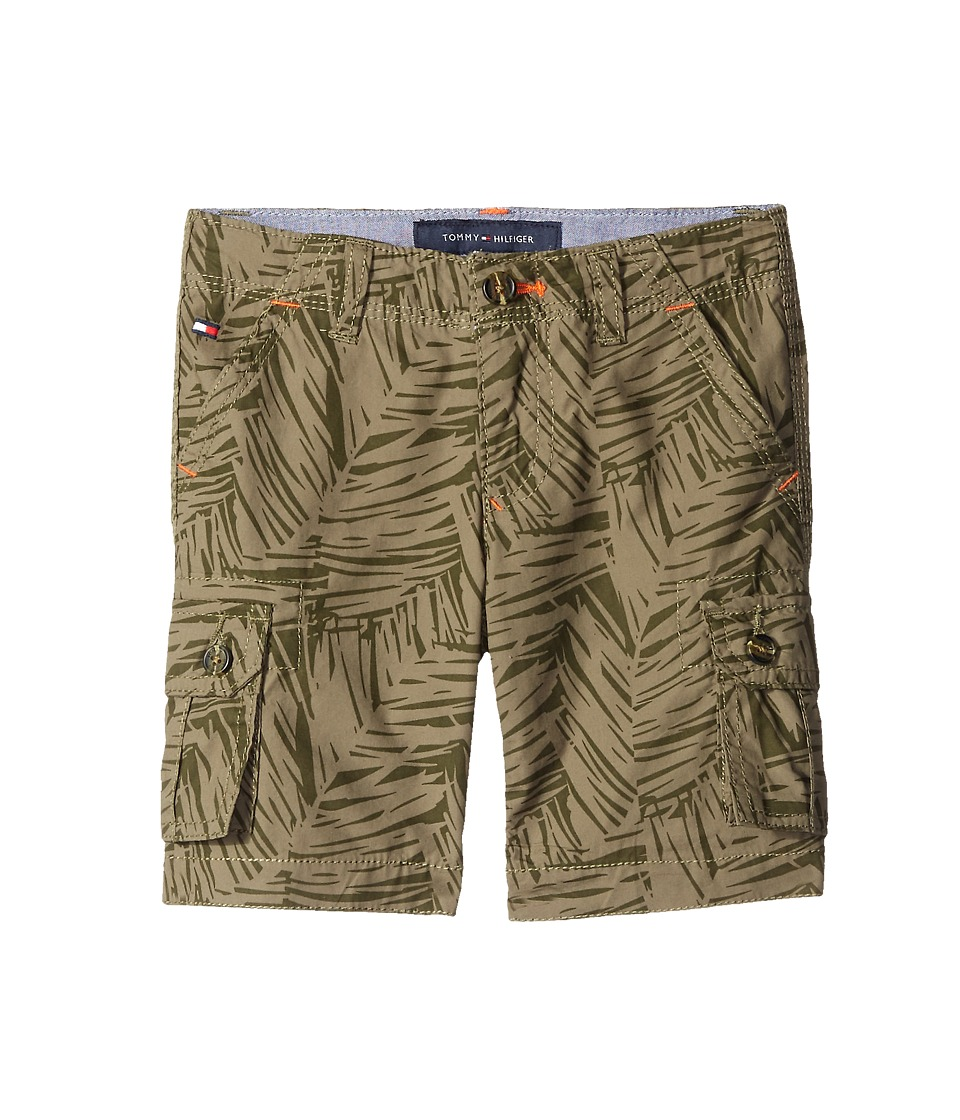 Tommy Hilfiger Kids Printed Palm Leaf Cargo Shorts Big Kids Dusty Olive Boys Shorts
