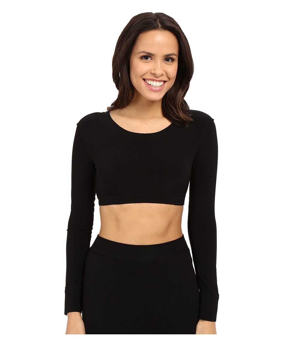 KAMALIKULTURE by Norma Kamali Crew Neck Cropped Top Black Womens Long Sleeve Pullover