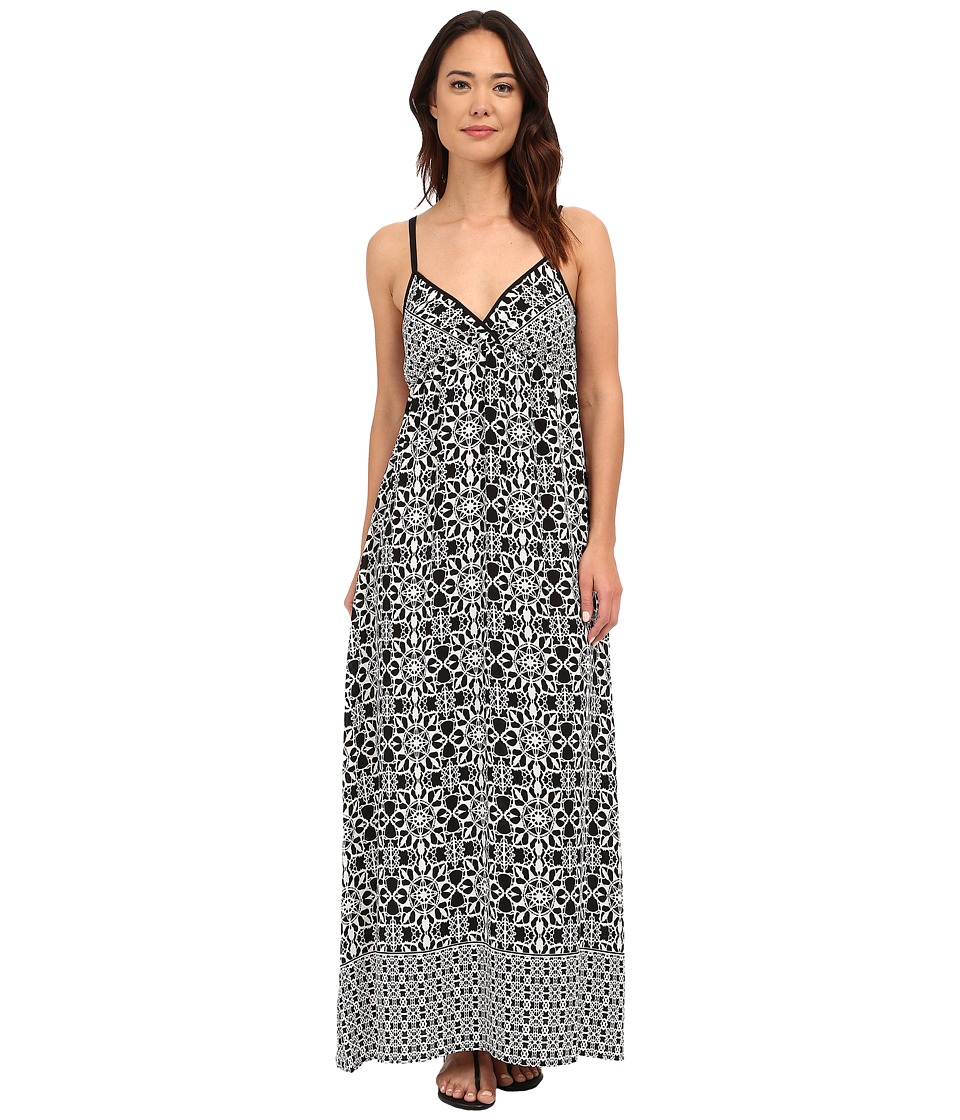 Brigitte Bailey Brody Printed Maxi Dress Black/Off White Womens Dress