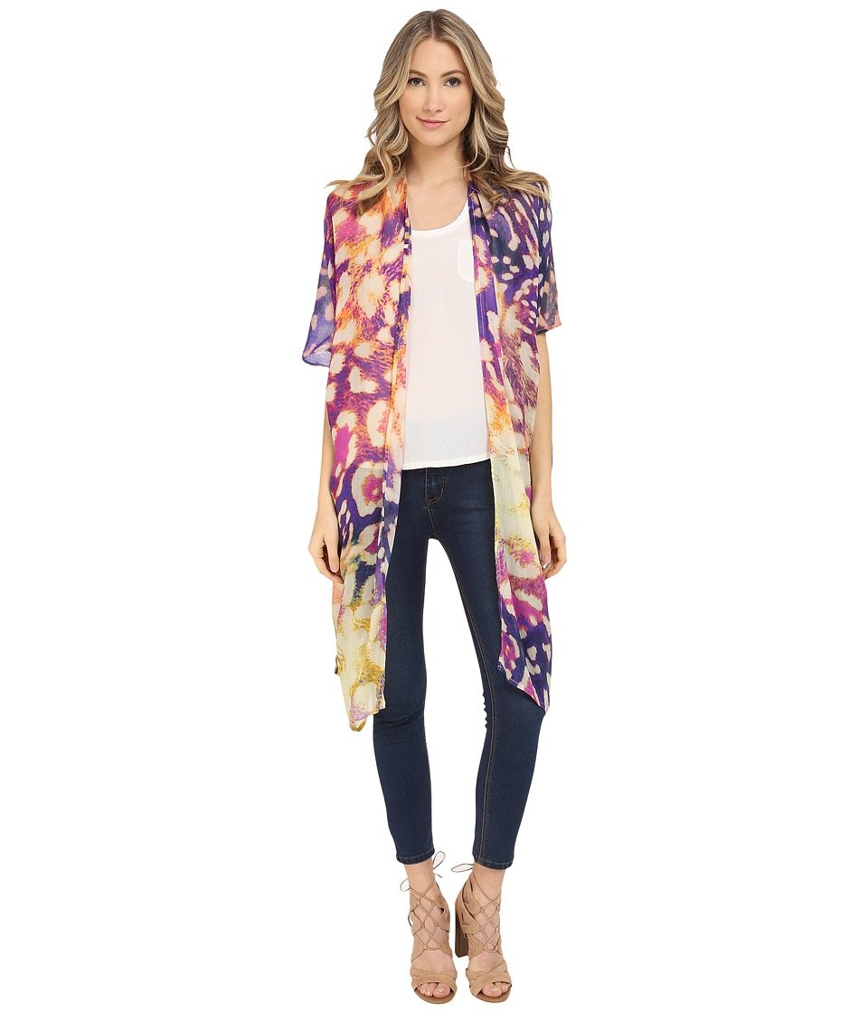 Bindya Colored Animal Kimono Dark Royal Womens Blouse