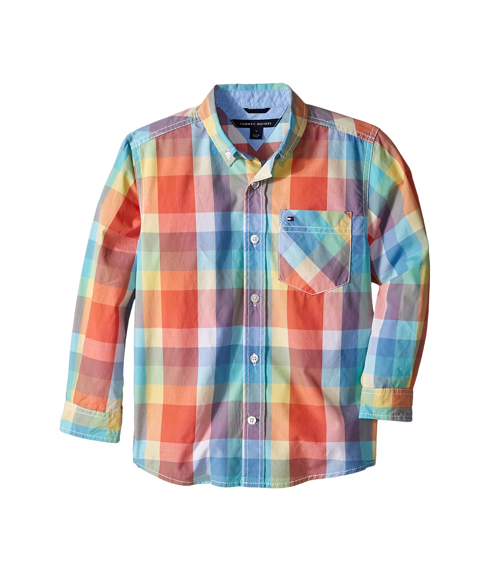 Tommy Hilfiger Kids Alejandro Woven Shirt Toddler/Little Kids Melon Boys Long Sleeve Button Up