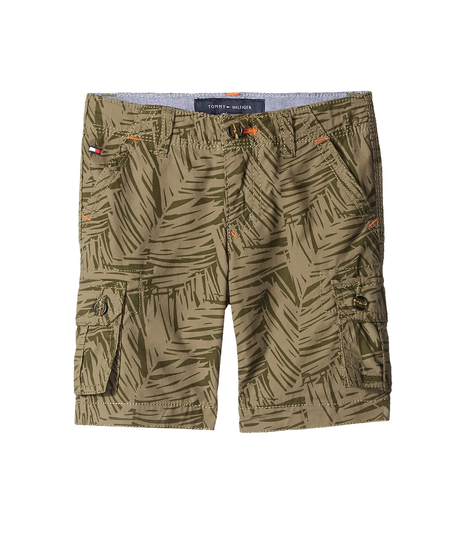 Tommy Hilfiger Kids Printed Palm Leaf Cargo Shorts Toddler/Little Kids Dusty Olive Boys Shorts