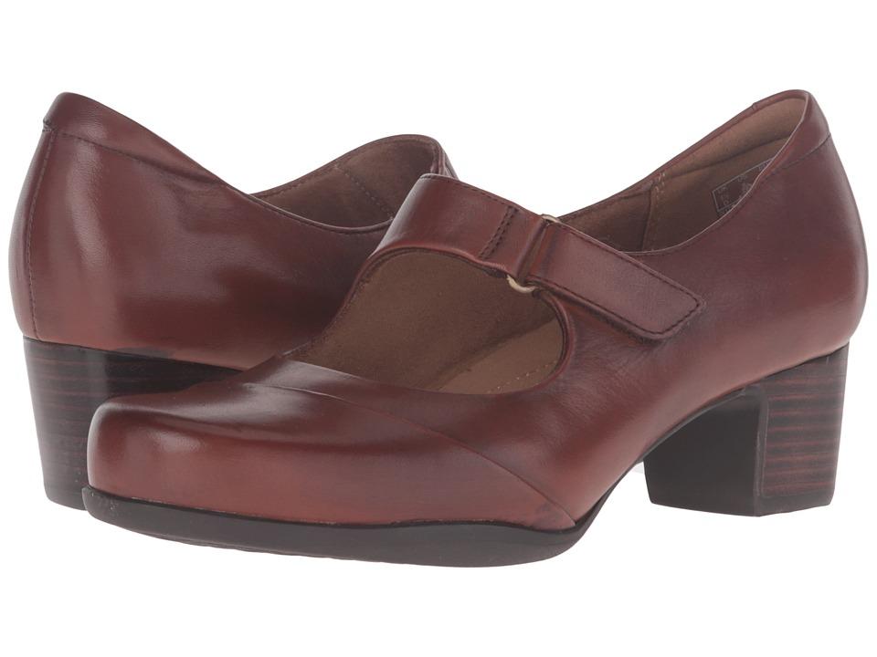 Clarks - Rosalyn Wren (Tan Leather) High Heels, wide width shoes