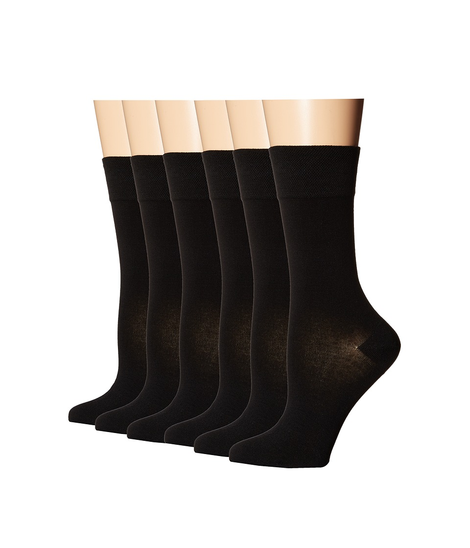Ecco Socks Mid Length Solid Mercerized Cotton Socks 6 pack Black Womens Crew Cut Socks Shoes