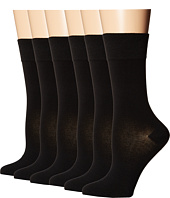 Ecco Socks - Mid-Length Solid Mercerized Cotton Socks - 6 pack