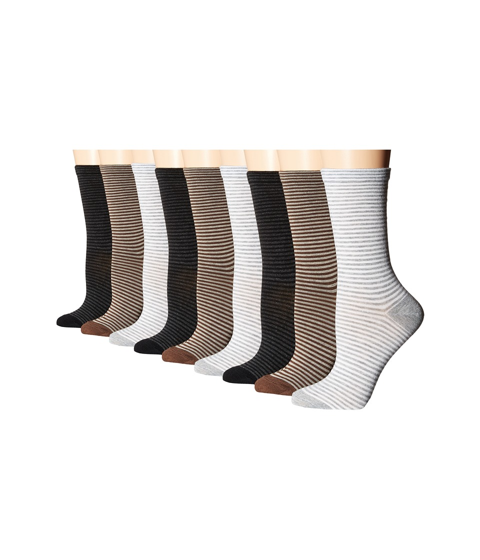 Ecco Socks Stripe Crew Socks 9 pack Black/Brown/Gray Womens Crew Cut Socks Shoes