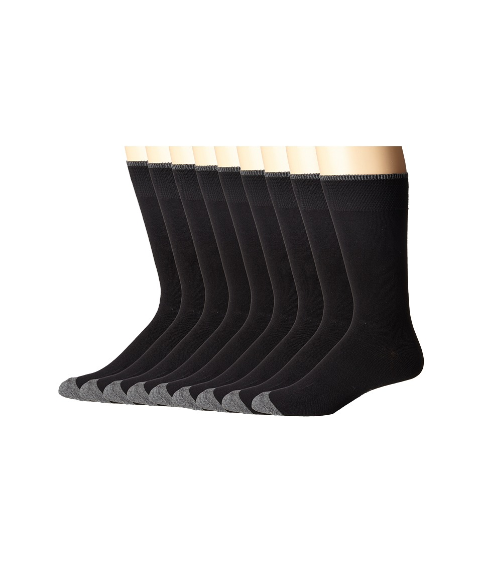 Ecco Socks Solid Color with Tipping Socks 9 pack Black Mens Crew Cut Socks Shoes