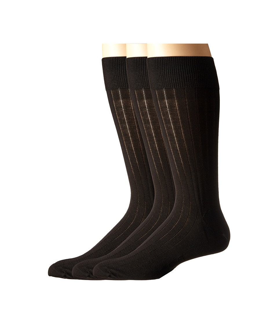 Ecco Socks Dress Rib Silk Socks 3 pack Black Mens Crew Cut Socks Shoes