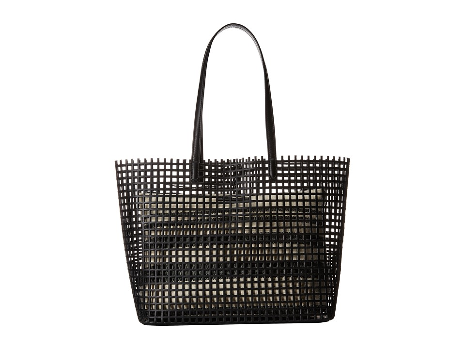 Loeffler Randall Double Handle Beach Tote Black Natural Canvas/Black Vacchetta Tote Handbags