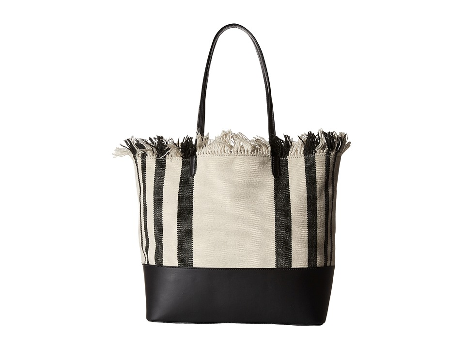 Loeffler Randall Double Handle Beach Tote Black Vacchetta/Black Natural Canvas Tote Handbags