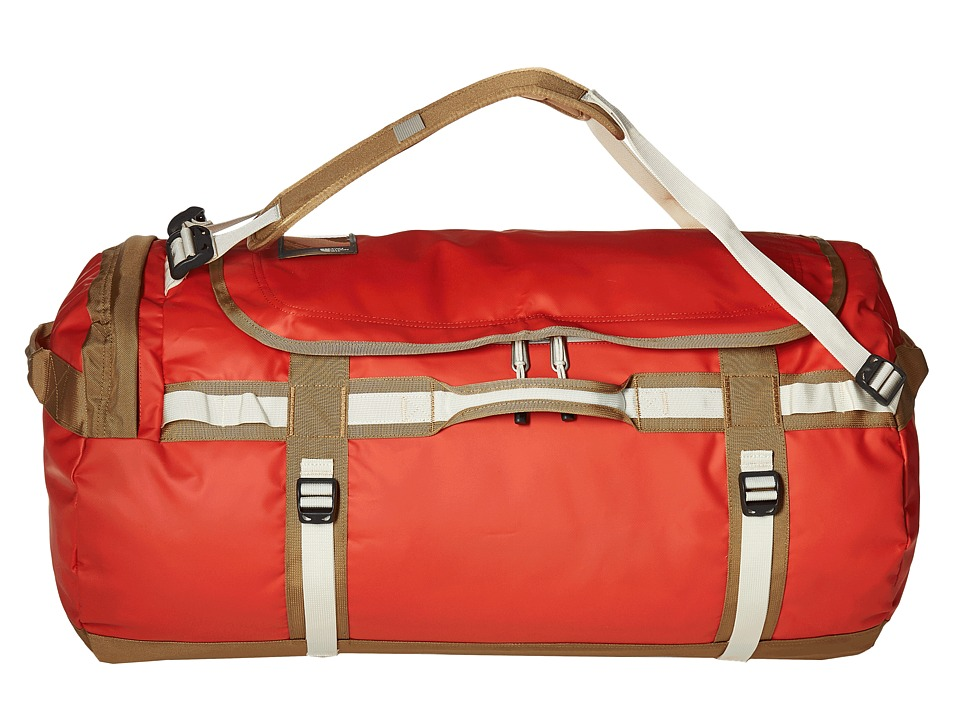 The North Face - Base Camp Duffel - Large (Poinciana Orange/Dijon Brown) Duffel Bags