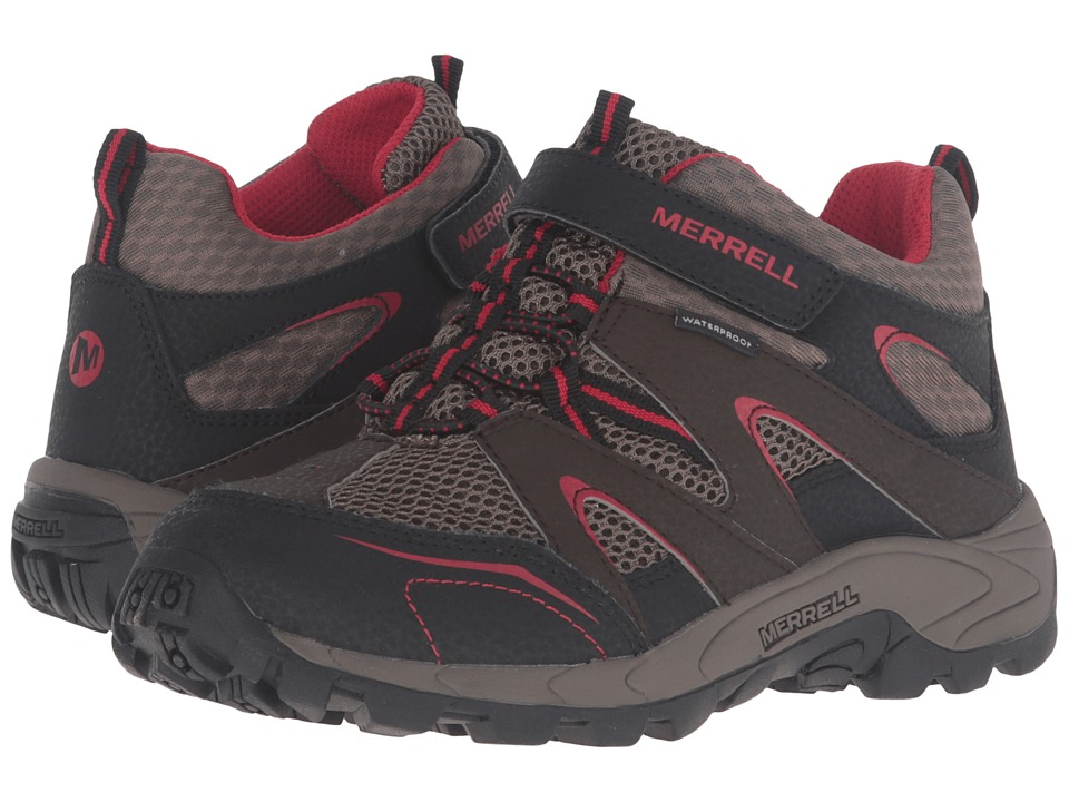 Merrell Kids Hilltop Mid Quick Close Waterproof (Little Kid) (Brown Suede/Mesh) Boys Shoes