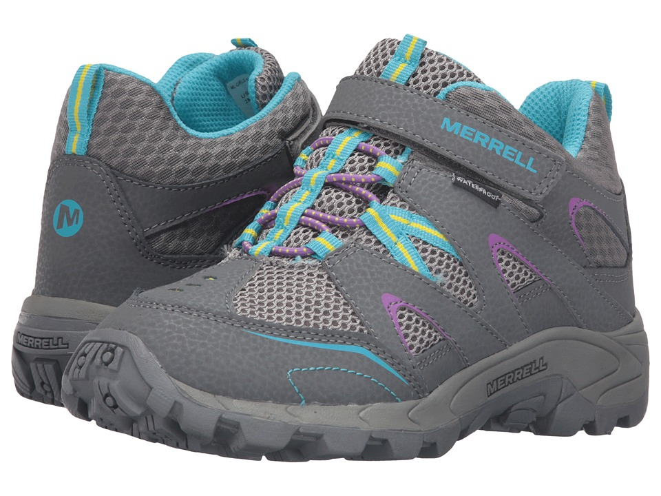 Merrell Kids Hilltop Mid Quick-Close Waterproof (Little Kid) (Grey/Multi Suede/Mesh) Girls Shoes