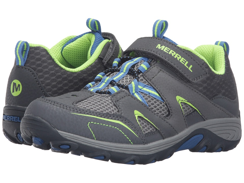Merrell Kids - Trail Chaser (Little Kid) (Grey/Blue/Citron Suede/Mesh) Boys Shoes