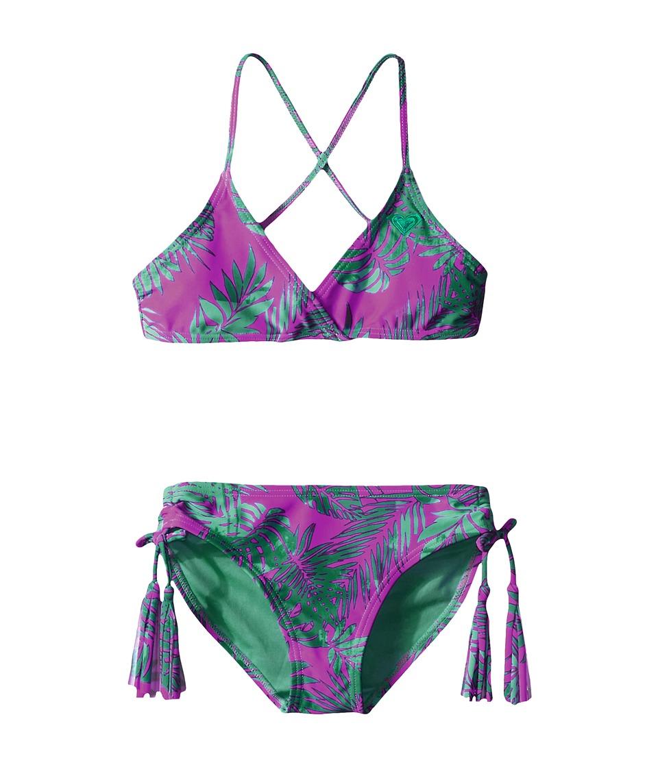 Roxy Kids Primal Palms Tie Back Set Big Kids Purple Wine Girls Swimwear Sets