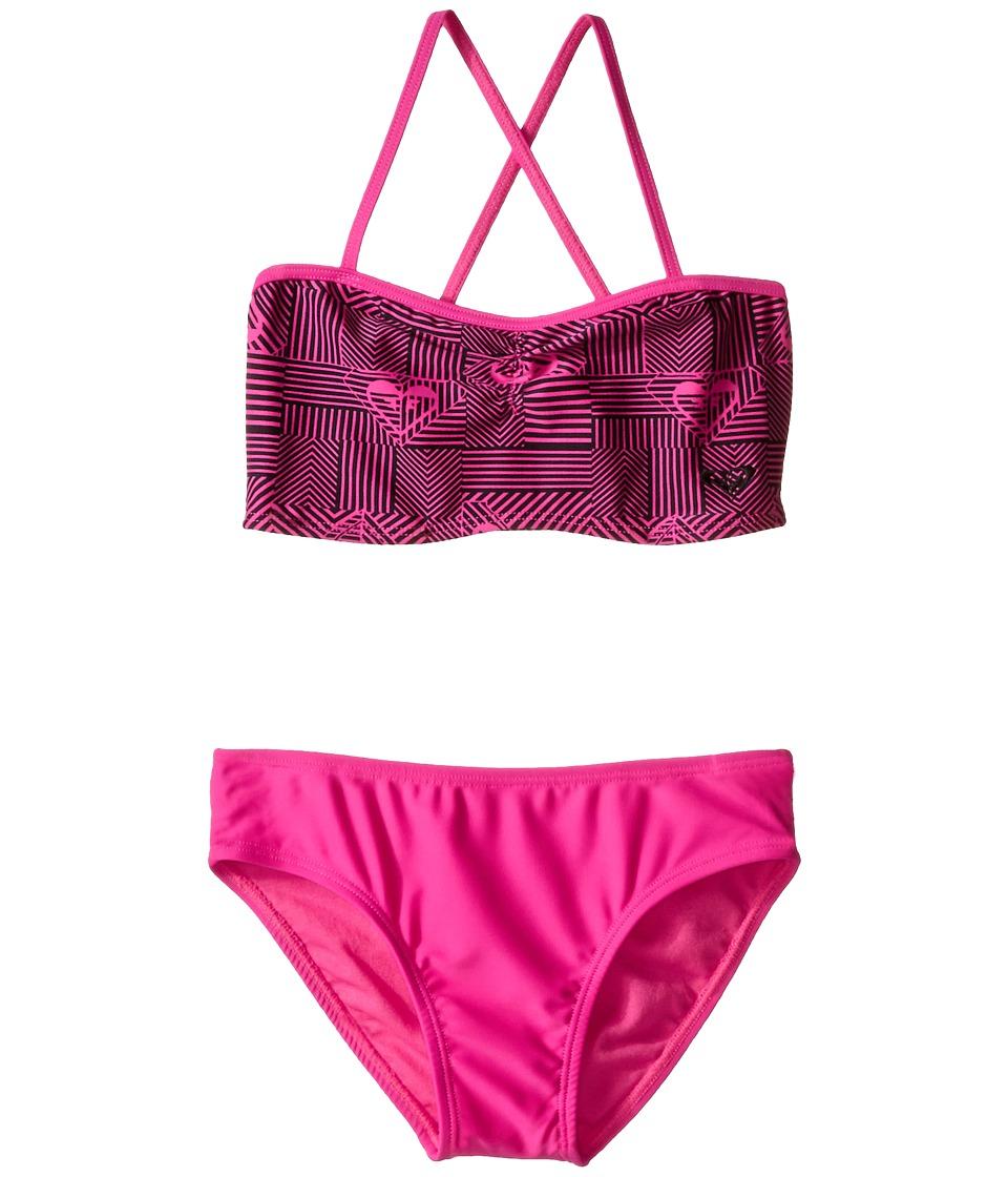 Roxy Kids Retro Sport Bandeau Set Big Kids Fuchsia Purple Girls Swimwear Sets
