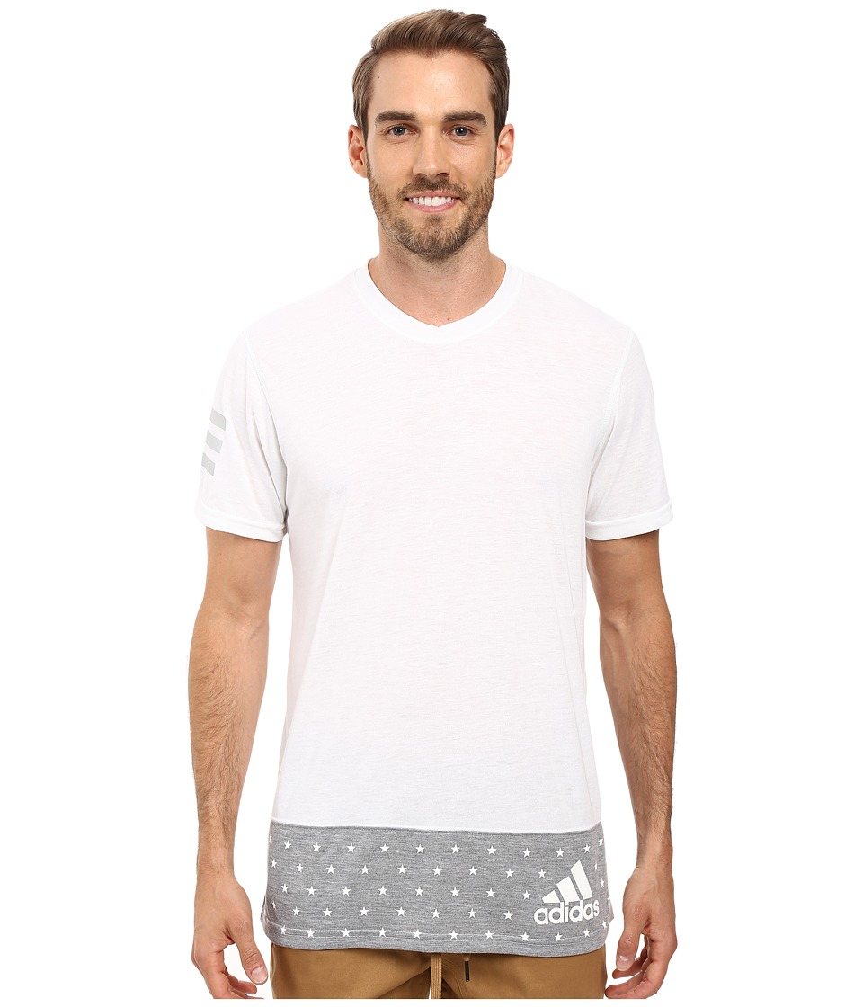 adidas - Stars and Stripes Tee (White/Medium Grey Heather/White) Men