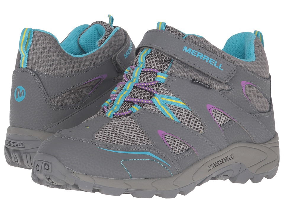 Merrell Kids - Hilltop Mid Quick Close Waterproof (Big Kid) (Grey Multi/Suede/Mesh) Girls Shoes