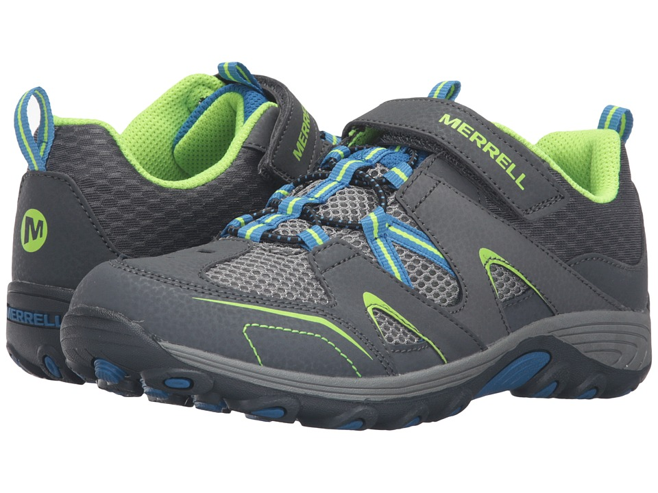 Merrell Kids - Trail Chaser (Big Kid) (Grey/Blue/Citron Suede/Mesh) Boys Shoes