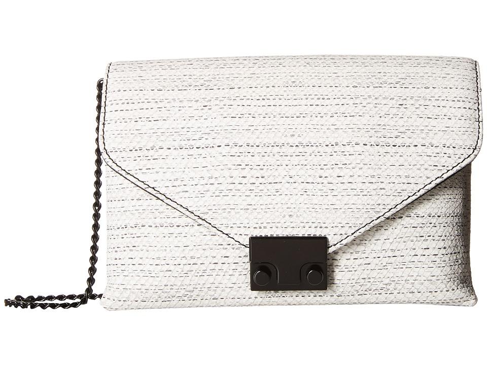 Loeffler Randall - Junior Lock Clutch (White/Black Hashmark Embossed Leather) Clutch Handbags