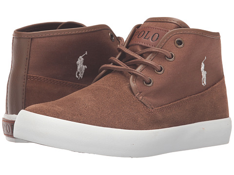 Polo Ralph Lauren Kids Waylon Mid (Big Kid) - Snuff Suede/Herringbone Twill/Cream Pony Player