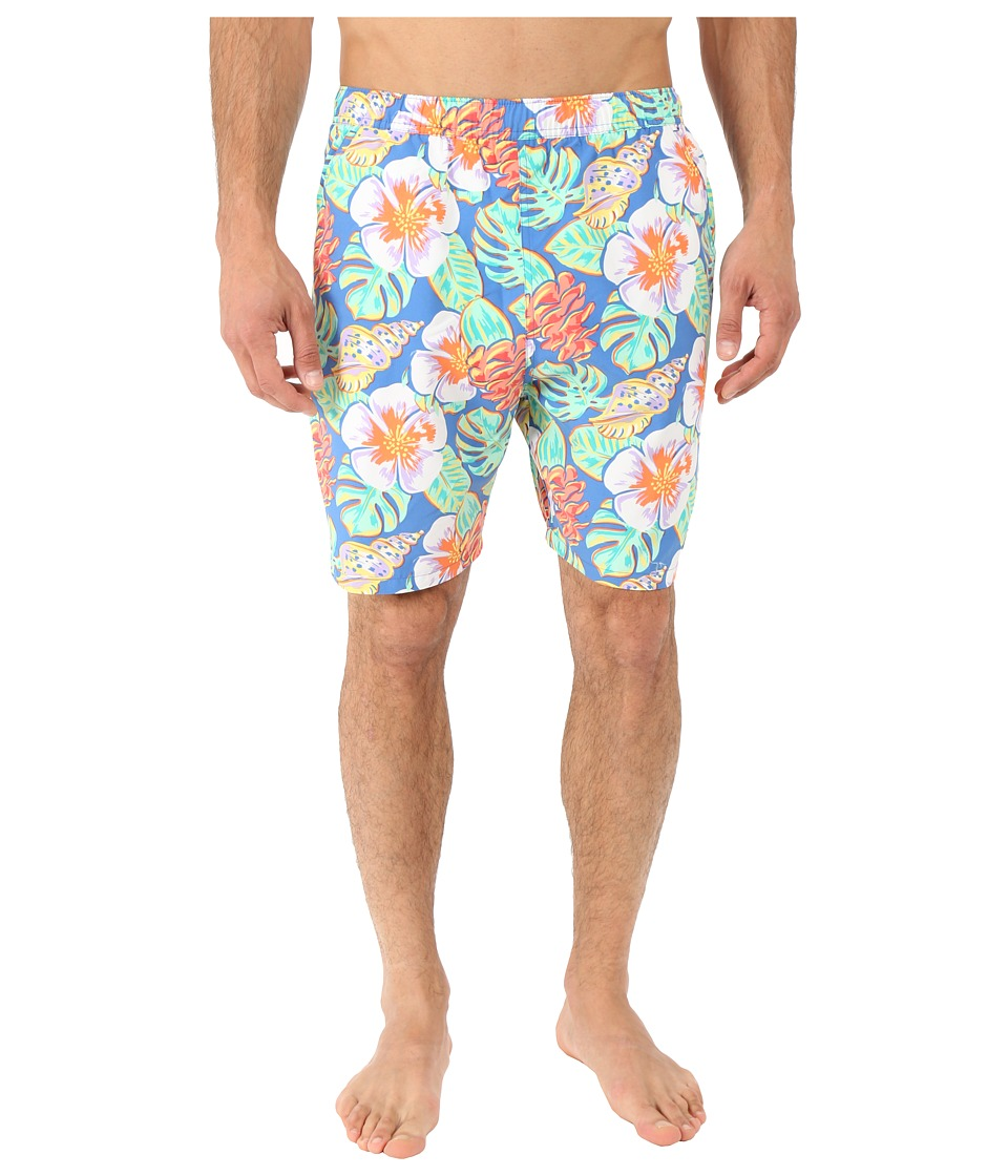 Vineyard Vines - Island Leaves Chappy (Hull Blue) Men's Swimwear