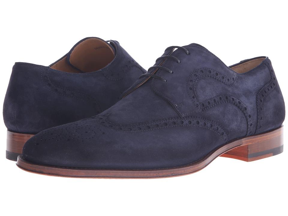 Magnanni - Sebastian Navy Mens Lace Up Wing Tip Shoes $325.00 AT vintagedancer.com