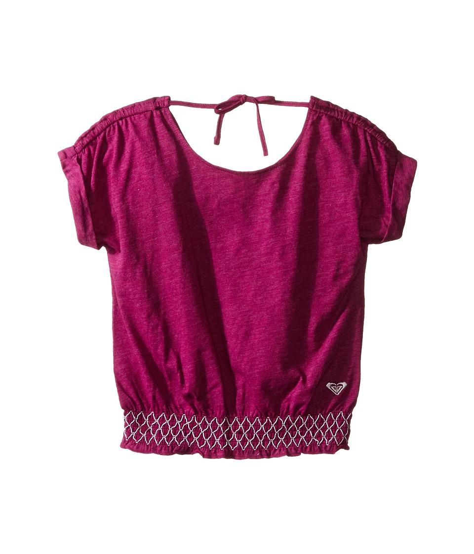 Roxy Kids Zinnia Top Toddler/Little Kids Purple Wine Girls Short Sleeve Pullover